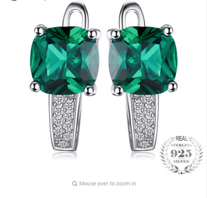JewelryPalace Cushion 3.1ct Created Green Emerald Clip On Earrings 925 Sterling Silver Fine Jewelry for Women Accessories-WE29 - Styleibuy Online Shop