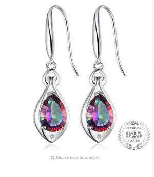 Jewelry Water Drop 6.8ct Rainbow Fire Mystic Topaz Dangle Earrings Pure 925 Sterling Silver New Fine Jewelry For Women 2018 New-WE32 - Styleibuy Online Shop
