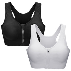 Sport Bras For Women Zipper Front Close Medium High Impact Sport Bras - Styleibuy Online Shop