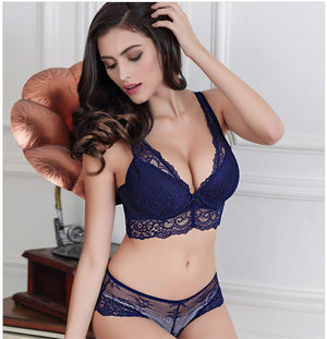 Styleibuy Noble deep V sexy lingerie gather lace beauty women bra sets - Styleibuy Online Shop