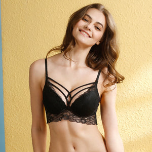 Styleibuy - Women Lace deep V neck Push up Bra sets A B C D Cup - Styleibuy Online Shop