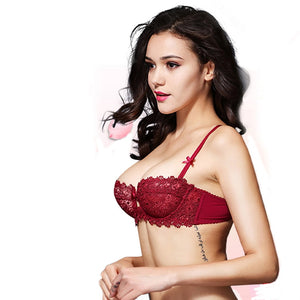 Styleibuy Women Sexy Bra Brief Sets Wine Red Lace Bra Push up 1/2 Cup - Styleibuy Online Shop