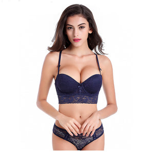 Styleibuy - Women Luxury Lace 1/2 cup Y buckle beauty Bra Set - Styleibuy Online Shop