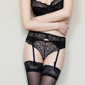 Styleibuy Lace sexy comfortable thin cup bra sets with gerter - Styleibuy Online Shop