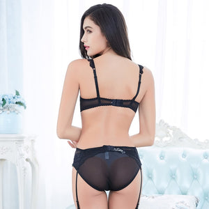 Styleibuy transparent lace embroidery bra sets sexy underwear suit black