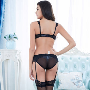 Styleibuy adjustment push up bra set 4 piece bra+panties+garter+stockings - Styleibuy Online Shop