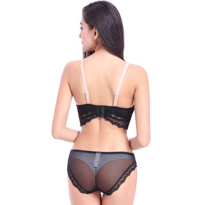 Styleibuy new sexy lace underwear ladies deep V hollow bra set - Styleibuy Online Shop