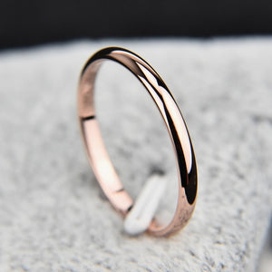 Styleibuy Titanium Steel  Rose Gold  Anti-allergy Smooth  Simple Wedding Couples Rings Bijouterie-WR008 - Styleibuy Online Shop