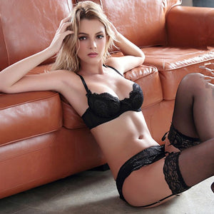 Styleibuy Floral lace Ultra - thin sexy bra sets with garter 3piece/set - Styleibuy Online Shop