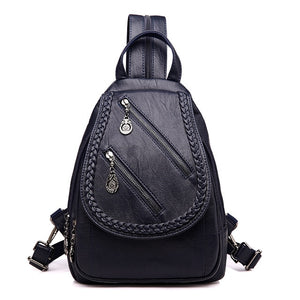 Styleibuy-2019 Women Fashion Backpack Double Zipper PU Leather –BAG039 - Styleibuy Online Shop