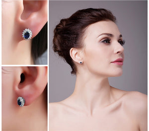 JewelryPalace Princess Diana William Kate Middleton's 1.5ct  Blue Created Sapphire Stud Earrings 925 Sterling Silver Earring-WE30 - Styleibuy Online Shop