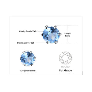 JewelryPalace Natural Blue Topaz Earrings Stud Genuine 925 Sterling Silver Jewelry New Women Jewelry Outstanding Fine Jewelry-WE35 - Styleibuy Online Shop