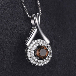 "Styleibuy Fashion ""X"" marks 0.65ct Natural Smoky Quartz Round Pendant S925 Sterling Silver Fine Jewelry Without Chain-WN015 - Styleibuy Online Shop"