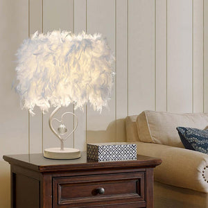Styleibuy Bedside Reading Room Sitting Room Heart Shape Feather Crystal Table Lamp Light with EU plug US UK AU Plug small size - Styleibuy Online Shop