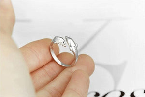 Lovely Anime Double Dolphin 925 Sterling Silver Open Rings For Women Girl Gift Silver 925 Jewelry-WR021 - Styleibuy Online Shop