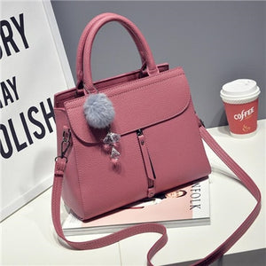 Styleibuy-2019 Women Shoulder Bags fur ball ornaments totes zipper medium handbag -BAG123 - Styleibuy Online Shop