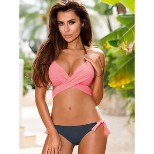 STYLEIBUY 2018 Sexy Bikini Women Swimsuit Push Up Swimwear Criss Cross Bandage Halter Bikini Set Beach Bathing Suit Swim Wear XXL-WJ8801 - Styleibuy Online Shop