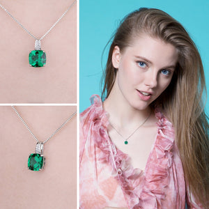 Styleibuy Cushion 3.4ct Created Green Emerald Solitaire Pendant 925 Sterling Silver Fine Jewlery Without The Chain-WN020 - Styleibuy Online Shop