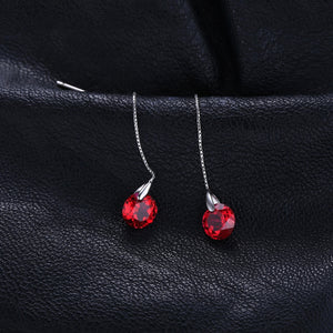 JewelryPalace Fashion 5.59ct Round Created Ruby Threader Earrings 925 Sterling Silver Fine Jewelry Party Long Earrings For Women-WE33 - Styleibuy Online Shop