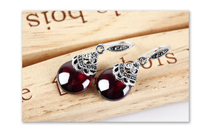 STYLEIBUY 100% 925 Sterling Silver Earrings For Women Retro Round Natural Stones Earrings Vintage Thai Silver Jewelry Best Gift - Styleibuy Online Shop