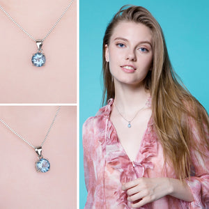 Styleibuy 2.4ct Natural stone Sky Blue Topaz Pendant Round Cut Solid 925 Sterling Silver Jewelry Not Include the Chain-WN018 - Styleibuy Online Shop