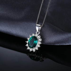 Styleibuy  Princess Diana William Kate Middleton's  Created Emerald 925 Sterling Silver Pendant Without a Chain for Women-WN019 - Styleibuy Online Shop