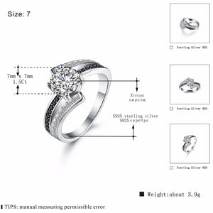 Career 3.9g Classic 925 Sterling Silver Jewelry Row Black&White Stone Wedding Rings for Women Femme Bague -WR012 - Styleibuy Online Shop