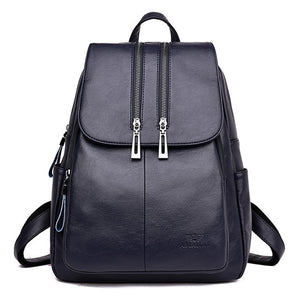 High Quality Leather Backpack Woman New Arrival Fashion Double Zipper Backbag Female Large Capacity School Bag Mochila Feminina - Styleibuy Online Shop