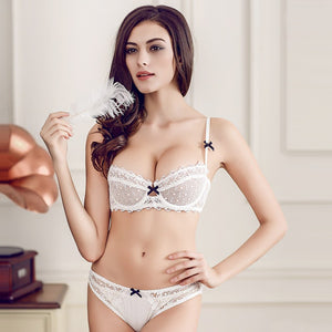 Styleibuy Women Sexy Transparent Lace Floral Lingerie Underwire Ladies Unlined Bra Sets - Styleibuy Online Shop
