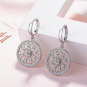 Original Creative Real  925 Sterling Silver Dreamcatcher Round Stud Earrings For Women Fashion Silver 925 Jewelry Gift WE009 - Styleibuy Online Shop