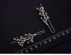 Real 925 Sterling Silver Natural Creative Handmade Fine Jewelry Statement Tree Fashion Drop Earrings-WE0042 - Styleibuy Online Shop