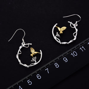 Real 925 Sterling Silver Natural Creative Handmade Fine Jewelry Perfect Lovely Bird Drop Earrings -WE047 - Styleibuy Online Shop