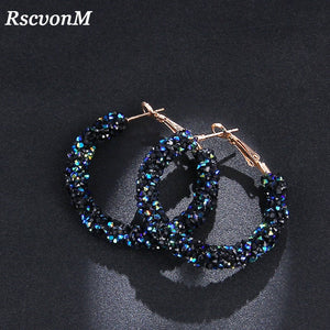 New Design Fashion Charm Austrian crystal hoop earrings Geometric Round Shiny rhinestone big earring-WE005 - Styleibuy Online Shop