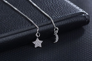 New Vintage Fashion Asymmetric Moon Star Pure 925 Sterling Silver Long Tassel Earrings For Women Sterling-Silver-Jewelry -WE018 - Styleibuy Online Shop
