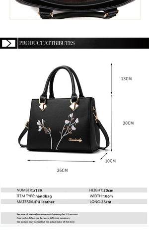 Styleibuy-2019 women Shoulder Bag flowers decoration totes women floral rivet handbag -BAG127