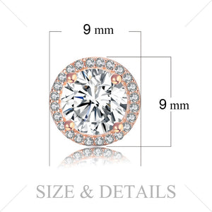Jewelrypalace 925 Sterling Silver Earrings Stud Earrings Lavish Glow Rose Gold Color Round Cubic Zirconia Wedding Jewelry New-WE34 - Styleibuy Online Shop