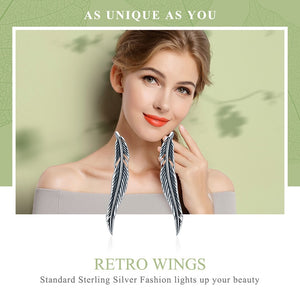 Authentic 925 Sterling Silver Vintage Feather Wings Cuff Drop Earrings for Women Sterling Silver Earrings Jewelry- WE011 - Styleibuy Online Shop