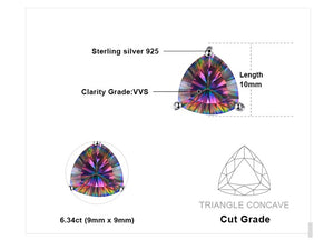JewelryPalace 925 Pure Sterling Silver 4.5ct Genuine Nature Rainbow Fire Mystic Topaz Stud Earrings Multicolor Trillion Gift-WE36 - Styleibuy Online Shop