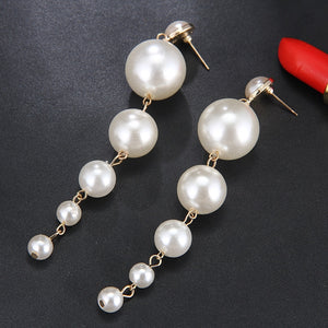Trendy Elegant & Big Simulated Pearl & Long Earrings Pearls  Dangle Earrings-WE002 - Styleibuy Online Shop