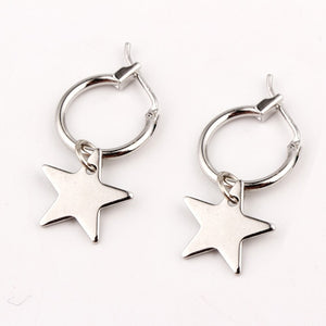 European Endless Circle Hoop Earrings Handmade Silver Gold Color Simple Star Earring For Women Men Chic Bijoux Jewelry Charms-WE006 - Styleibuy Online Shop