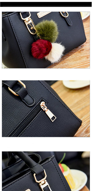 Styleibuy-2019 Women Shoulder Bag hairball ornaments totes solid sequined handbag-BAG118 - Styleibuy Online Shop