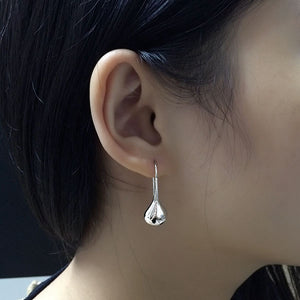 Real 925 Sterling Silver Drop Earrings for Women Apricot Leaves Women Drop Earrings Wholesales Fashion Jewelry Gifts-WE038