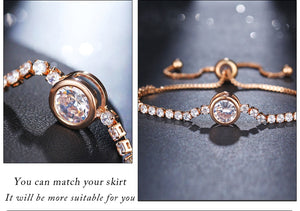 Rose Gold Silver Color Cubic Zirconia Charm Bracelets & Bangles Femme Wedding Jewelry-WB001 - Styleibuy Online Shop