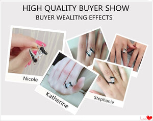Fine Jewelry  Gram  925 Sterling Silver Row Black Stone Engagement Rings for Women Bague -WR005 - Styleibuy Online Shop