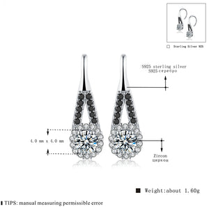 Trendy 1.6g 925 Sterling Silver Earring Black Spinel Anniversary Drop Earrings for Women Fine Jewelry -WE025 - Styleibuy Online Shop