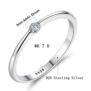 Authentic 925 Sterling Silver Rings Round Zirconia Crystal Finger Rings-WR009 - Styleibuy Online Shop