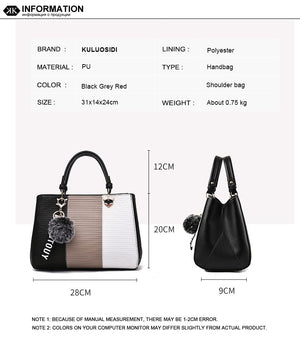 Styleibuy-2019 Women  Shoulder Bags Leather Fashion Handbags Contrast Color-BAG027 - Styleibuy Online Shop