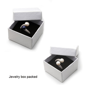 Real 925 Sterling Silver Double Pearl Rings Women,daughter gift bridal black pearl ring-WR007 - Styleibuy Online Shop