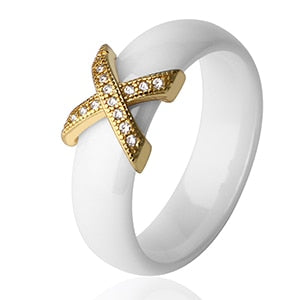 Fashion Jewelry Women Ring With AAA Crystal 6/8 mm X Cross Ceramic Rings-WR010 - Styleibuy Online Shop