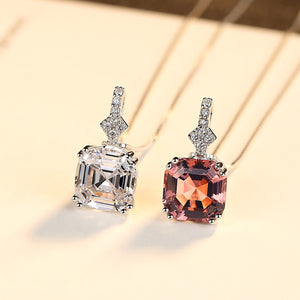 925 Sterling Silver Necklaces Pendants Topaz Necklace For Women Engagement Wedding Gift Stone Jewelry With Box Chain Wholesale-WN022 - Styleibuy Online Shop
